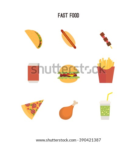 Set of fast food products. Can be used for menus or advertising leaflets; etc. Flat style drawing. Tacos; hot dogs; pizza; burger; french fries; barbecue; chicken leg; drink.  - stock vector