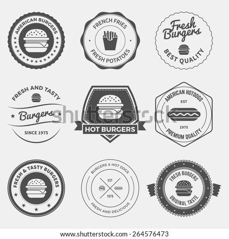 set of fast food restaurant labels, badges and design elements - stock vector