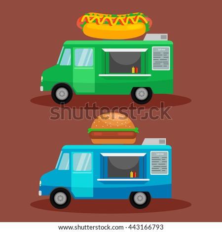 Set of fast food  trucks. Hot Dog, burger machine - stock vector