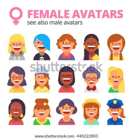 Set of female avatars. Different skin tones, clothes and hair styles. Modern and simple flat cartoon style.  - stock vector