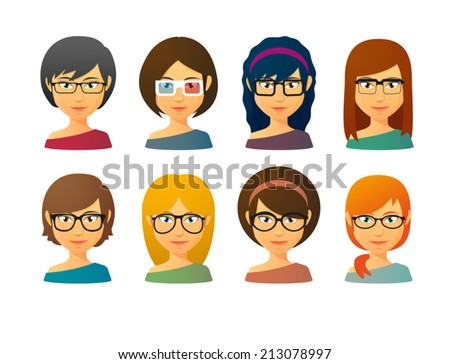 Set of female avatars wearing glasses with various hair styles - stock vector