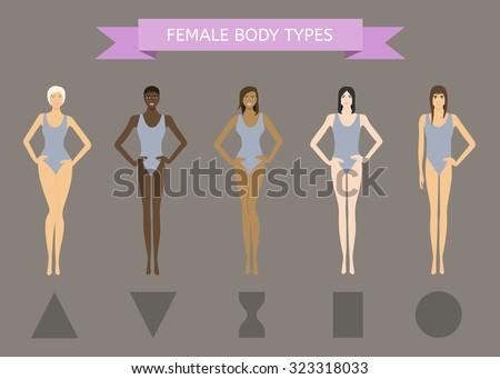 Set of Female Body Shape Types: Triangle, Inverted Triangle, Hourglass, Rectangle, Round - stock vector