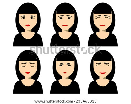 set of female faces with different emotions - stock vector