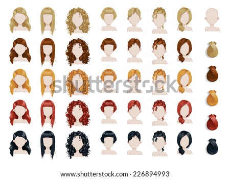 Set of female hair style sprites. Vector game design for app - stock vector