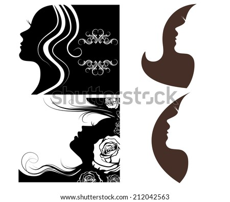 set of female silhouettes on a white background - stock vector