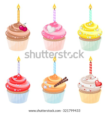 Set of festive birthday cupcakes with burning candles  - stock vector