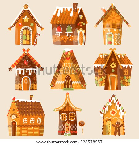 Set of 9 festive gingerbread houses. Christmas tradition. Vector illustration - stock vector