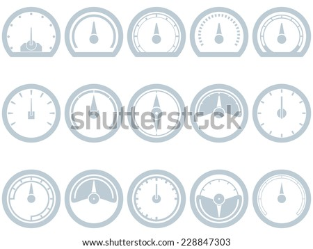 Set of fifteen flat, simple, speedometer style icons. Speedometer, Fuel, Scale, Full, Empty, Battery, Status. Eps 8. - stock vector