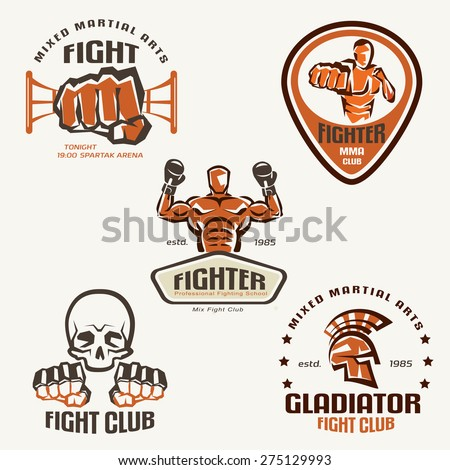 Set of fighting club emblems, MMA, boxing labels and badges  - stock vector