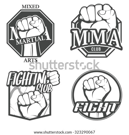 Set of fighting icons, MMA labels, logos, fight club badges, signs and design templates. Vector. - stock vector