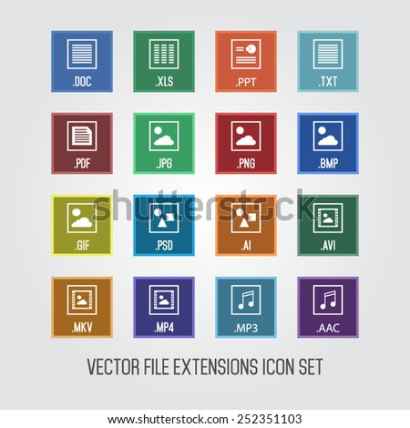 Set of file extensions flat style icons - stock vector