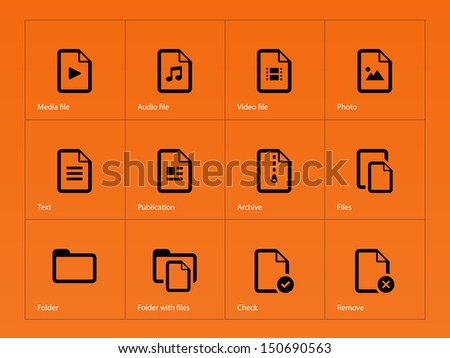Set of Files icons on orange background. Vector illustration. - stock vector