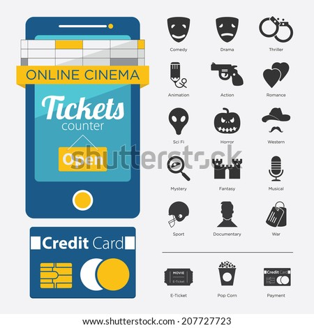 Set of Film Genre Icon and Mobile Phone in Flat Design - stock vector