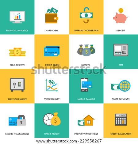 Set of finance and money icons in flat style. - stock vector