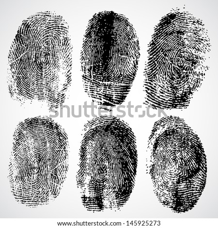 Set of fingerprints, vector illustration - stock vector