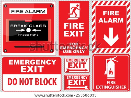 Set of  Fire Alarm (fire alarm, break glass, press here, fire exit, for emergency use only, emergency exit, do not block, fire extinguisher), easy to modify - stock vector