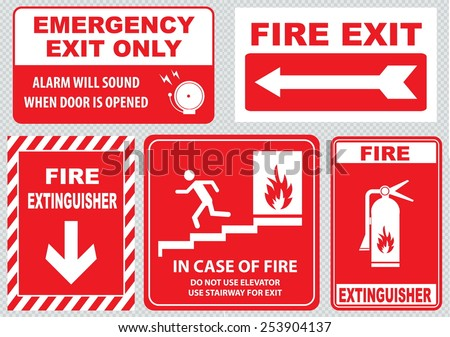 Set Of Fire Alarm (fire exit, emergency exit only, alarm will sound when door is opened, fire extinguisher, do not use elevator, use stairway, in case of fire). easy to modify. - stock vector