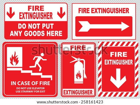 Set Of Fire Alarm (fire exit, emergency exit only, do not put any goods here, fire extinguisher, do not use elevator, use stairway, in case of fire). easy to modify. - stock vector