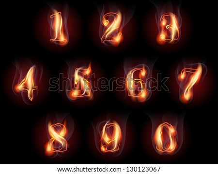 set of fire burning arabic numbers - stock vector