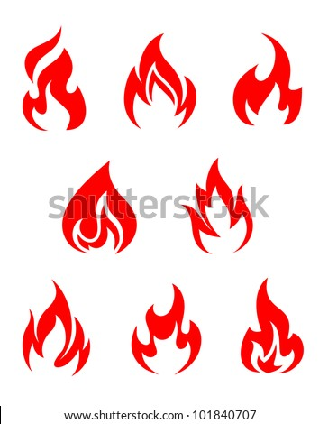 Set of fire flames isolated on white background, such logo. Jpeg version also available in gallery - stock vector
