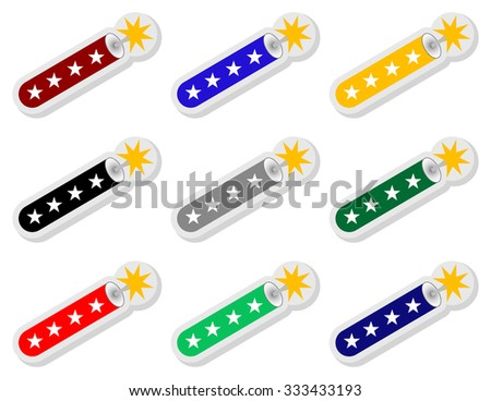 Set of Firecracker Stickers - stock vector
