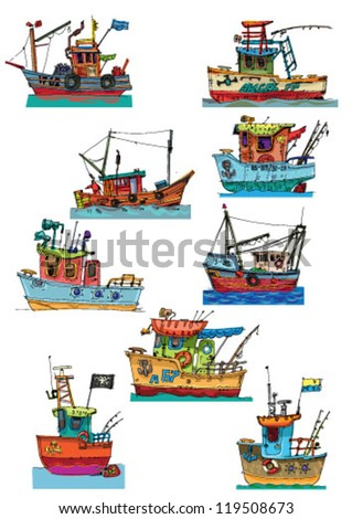 set of fish-boats  - cartoon - stock vector