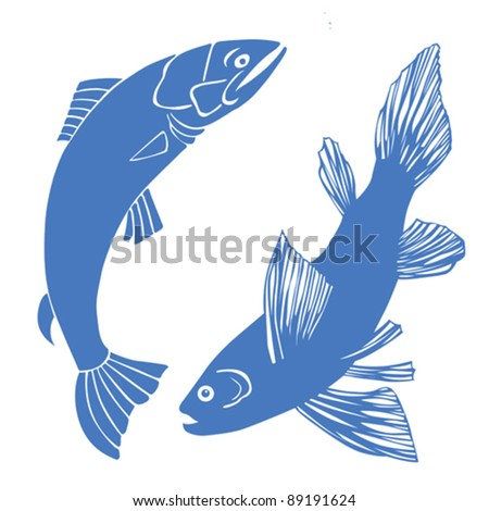 set of fish on white background - stock vector