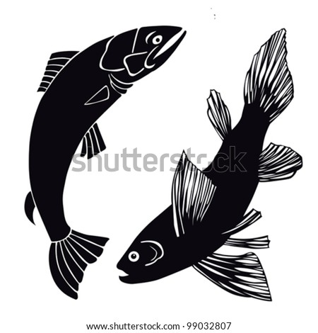 set of fish on white background, vector illustration - stock vector
