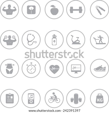 Set of Fitness And Health Icons - stock vector