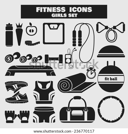 Set of fitness black icons in flat style for girls. Vector illustration with various sport symbols for healthy life on light background - stock vector