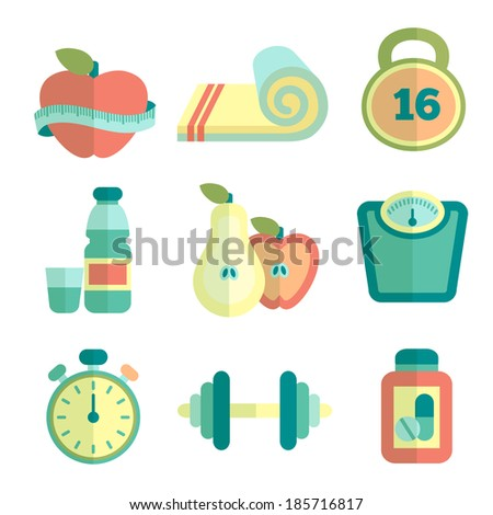 Set of fitness flat icons. Vector illustration - stock vector