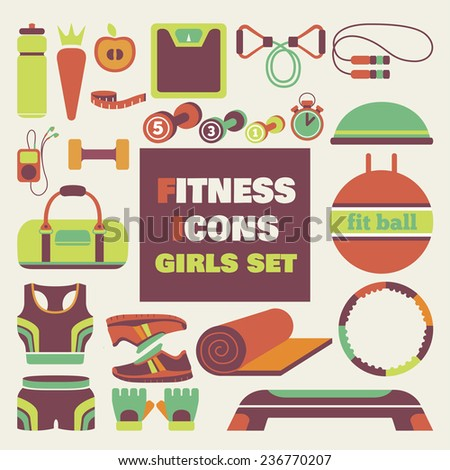 Set of fitness icons in flat style for girls. Vector illustration with various sport symbols for healthy life  - stock vector