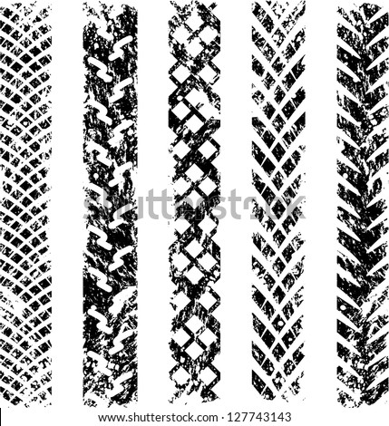 Set of five black silhouettes of bicycle tire track - stock vector