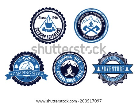 Set of five circular blue Outdoor Adventure and Camping emblems or labels logo with various text decorated with a tent, cooking fire, axes, mountains and ribbon banners - stock vector