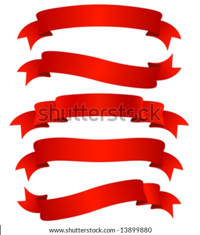 set of five curled red ribbons, vector illustration - stock vector