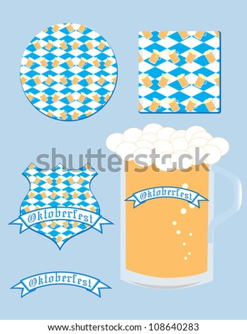 Set of five elements devoted to Oktoberfest with seamless pattern-a mug of beer at the Bavarian flag - stock vector
