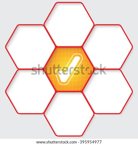 Set of five hexagons for your text and a check box - stock vector
