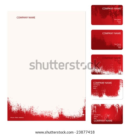 Set of five red grunge business cards and stationery sheet - stock vector