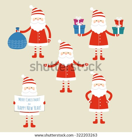 Set of five Santa Claus on a blue background. Vector illustration. - stock vector