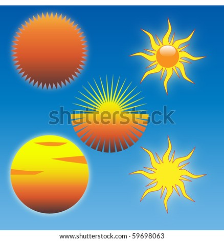 Set of Five Sun Images - stock vector