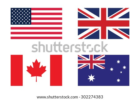 Set of flag : United states of America , United Kingdom , Canada and Australia - stock vector