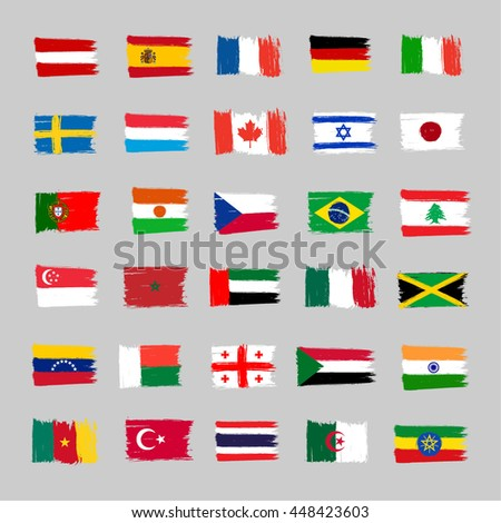 Set Of 30 Flags - Grunge - stock vector