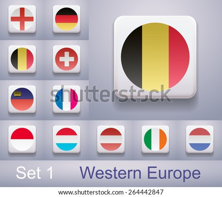Set of flags in Western Europe. Flags in the form of computer-button. Illustration. Image. Vector. Icon. - stock vector