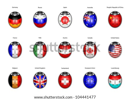 set of flags of countries in the form of ladybirds - stock vector