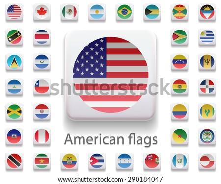 Set of flags of the Americas.. All flags. Flag in the form of computer button. 3 d. All elements and textures are individual objects. Each image has a name. Collection. Illustration. Vector. Icon - stock vector