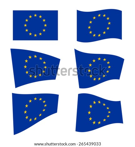 Set of flags of the European Union on white background. Vector illustration - stock vector