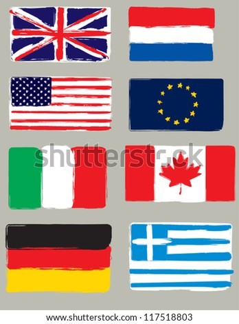 Set of flags. Original brush. - stock vector