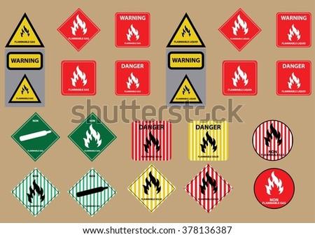 set of flammable liquid gas solid fuel sign vector illustration - stock vector