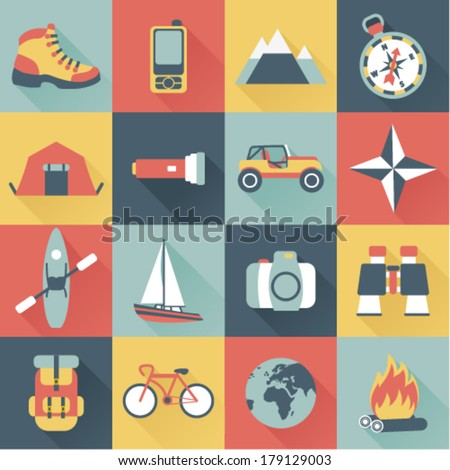 set of flat adventure traveling icons - stock vector