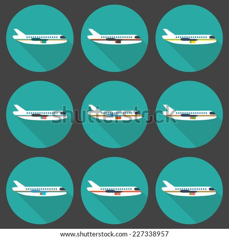 Set of flat airplane icons - stock vector